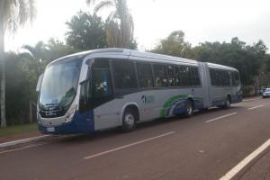 """Ônibus articulado da UFLA, já apelidado de """"Mamute"""""""