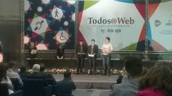 """Os três finalistas da categoria """"Aplicativos e tecnologias assistivas"""", com o estudante da UFLA Luis Otávio de Avelar à esquerda, representando o aplicativo WebHelpDyslexia"""