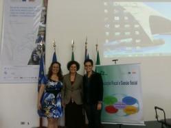 Da esq.p/ a dir.: Anna Carla Duarte Chrispim (Diretora Centresaf-MG), Raimunda Ferreira de Almeida (Diretora-Geral Adjunta Esaf), Mirelle Cristina de Abreu Quintela (Professora DAE/UFLA).