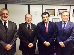 Deputado Federal Carlos Melles; reitor Scolforo, relator-geral do orçamento 2017, senador Eduardo Braga (PMDB/AM) e o presidente do IBGE, Paulo Rabelo