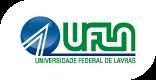Logomarca da UFLA, bola com dois riscos sainda em linha reta da base da bola em direção ao centro e voltando na diagonal direita como uma fatia de pizza